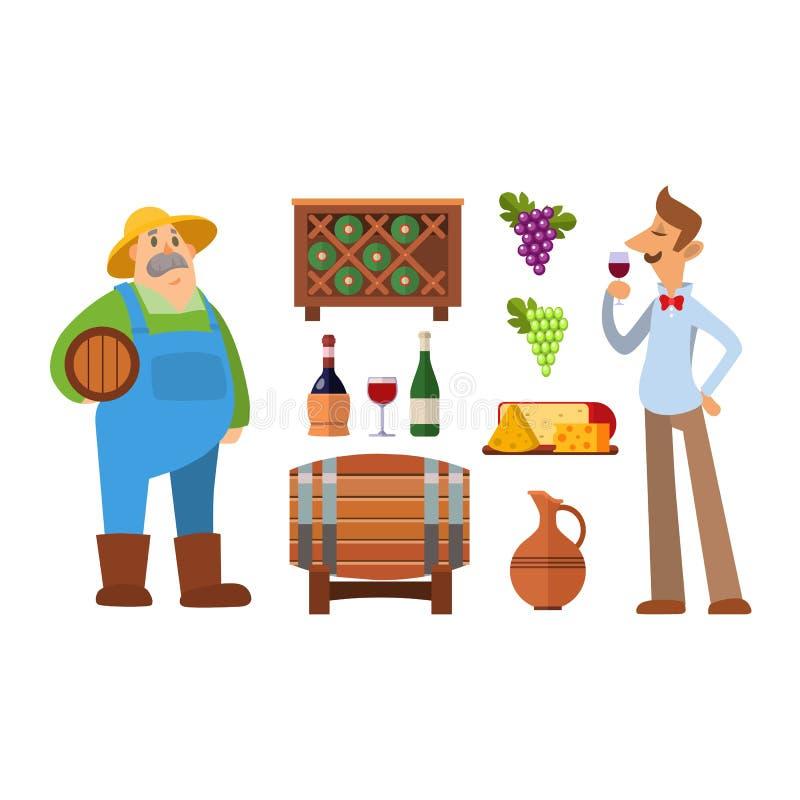 De vectorreeks van de wijnproductie vector illustratie