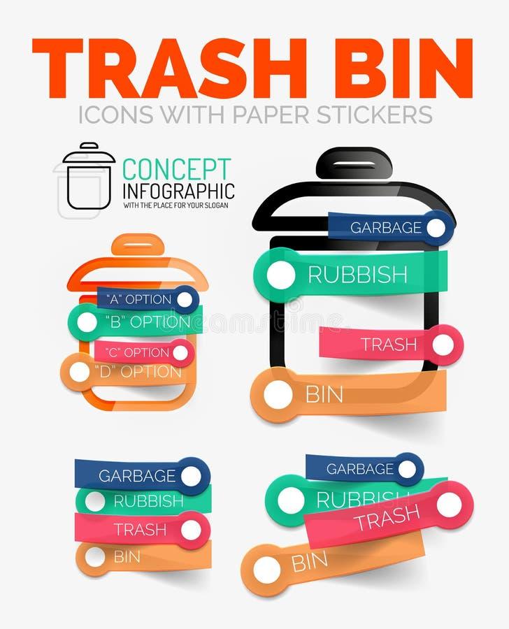 De vectorreeks van diagramelementen afval of huisvuilbakpictogrammen met plastic document stijlstickers voor tekst stock illustratie