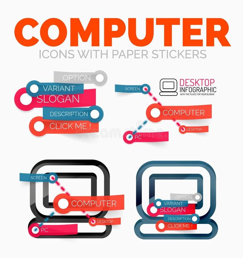 De vectorreeks van diagramelementen PC-computerpictogrammen met plastic document stijlstickers voor tekst vector illustratie