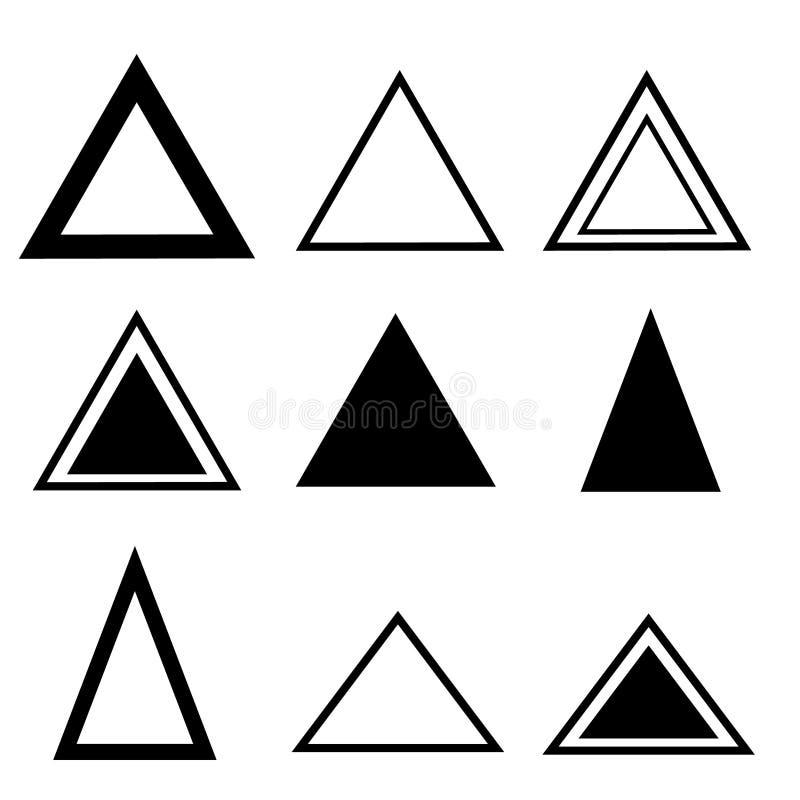 De Vectorreeks van driehoekspictogrammen De illustratiesymbool van het driehoekspictogram voor Web vector illustratie