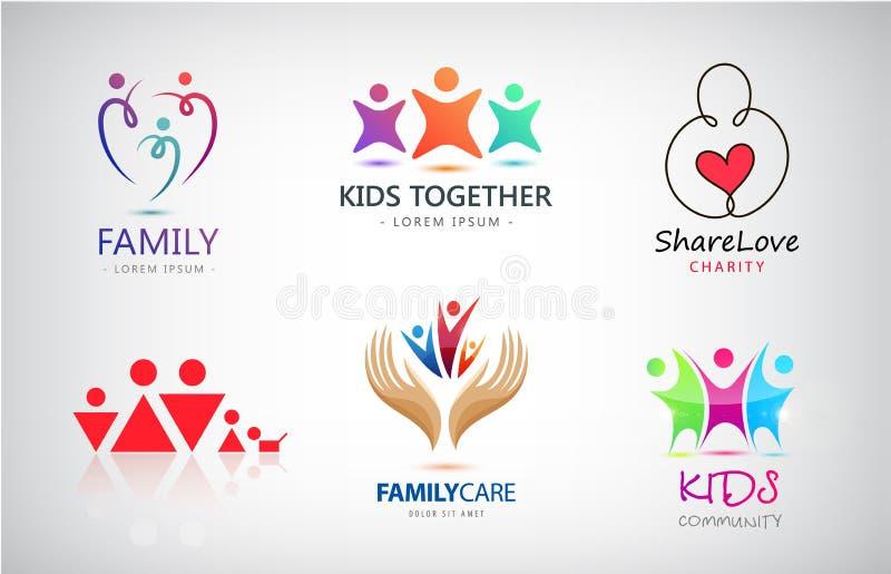 De vectorreeks van familie, jonge geitjes, steun, liefdadigheid, mensen groepeert emblemen stock illustratie