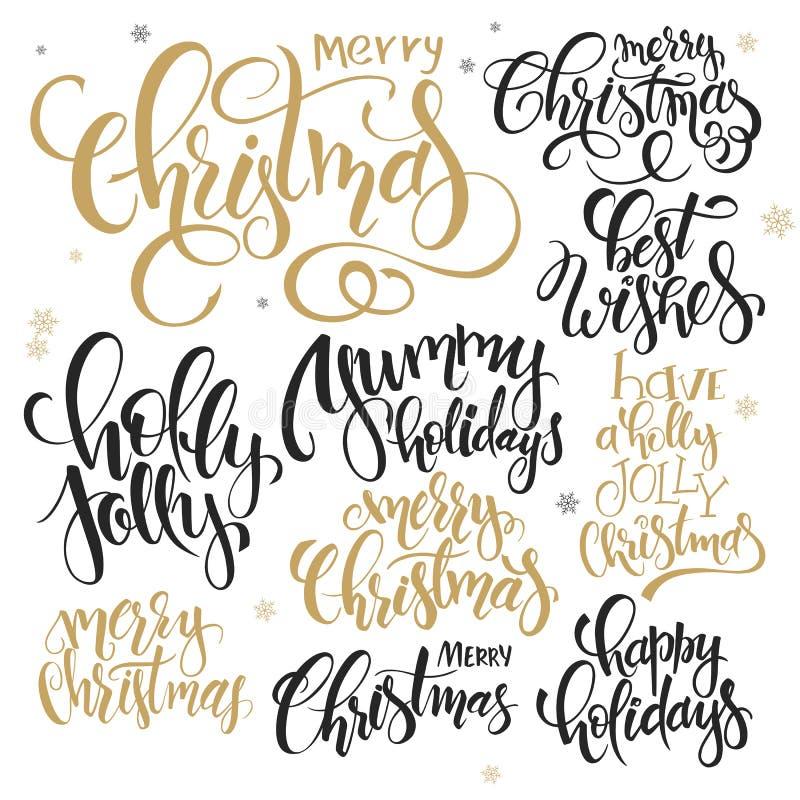 De vectorreeks van hand het van letters voorzien Kerstmis citeert - vrolijke Kerstmis, hulst heel en anderen, geschreven in diver vector illustratie