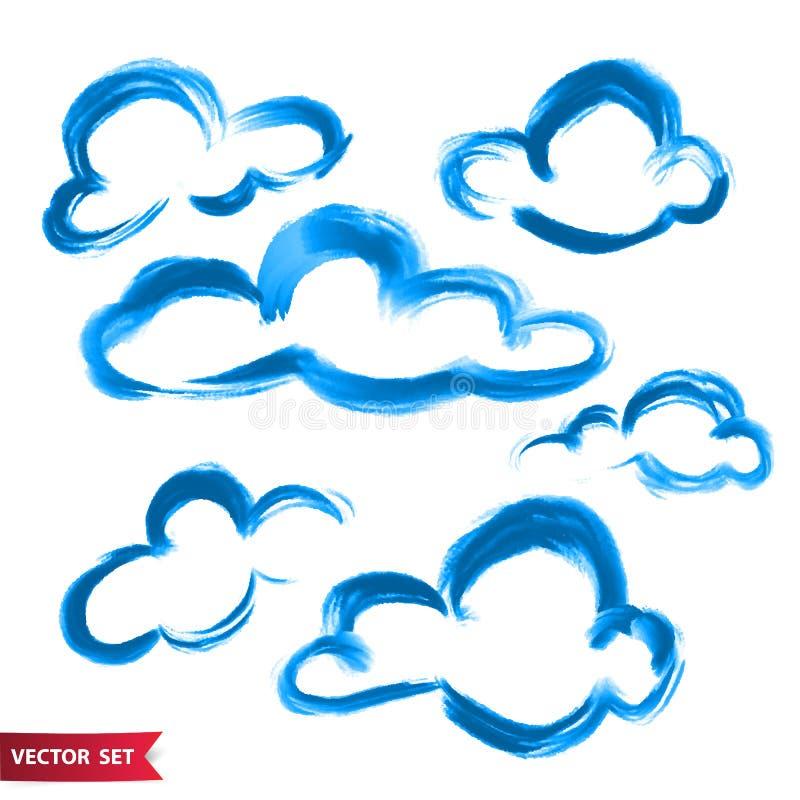 De vectorreeks van handtekening betrekt in waterverfstijl, heldere blauwe artistieke illustratie, geïsoleerde elementen, getrokke royalty-vrije illustratie