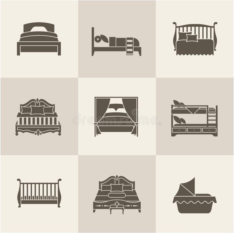 De vectorreeks van het bedpictogram stock illustratie