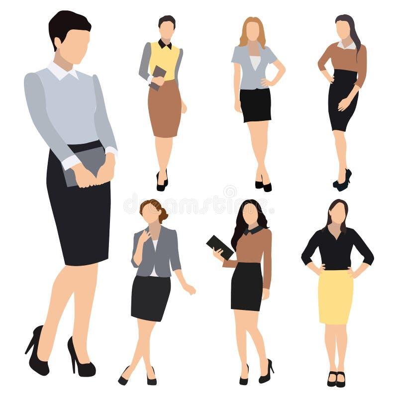 De vectorreeks van het bedrijfsvrouwensilhouet vector illustratie