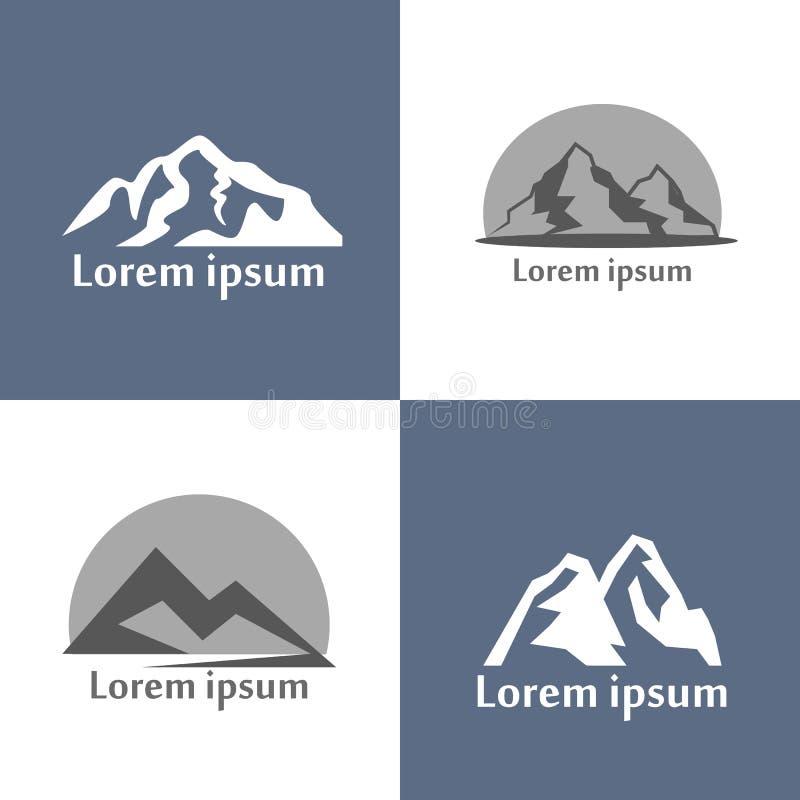 De vectorreeks van het bergenembleem De mening van de berghulp van aard als silhouet voor kentekens en logboektypes, retro stijl stock illustratie