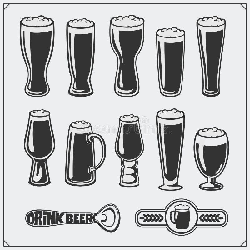 De vectorreeks van het bierglaswerk stock illustratie