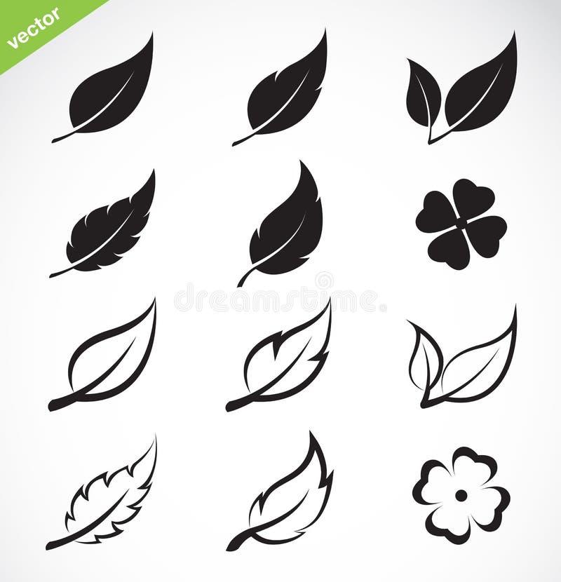 De vectorreeks van het bladerenpictogram royalty-vrije illustratie