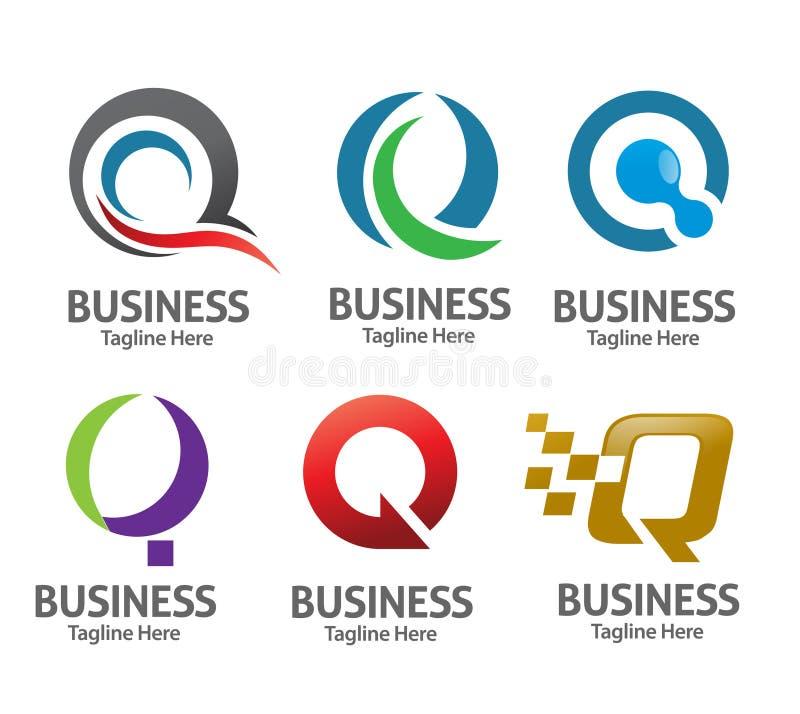 De vectorreeks van het brievenq embleem vector illustratie