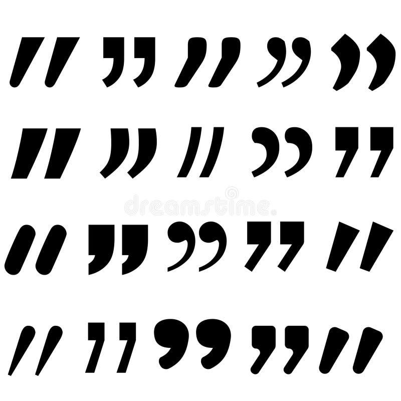 De vectorreeks van het citatenpictogram Quotemarksoverzicht, toespraaktekens, omgekeerde komma's of het spreken tekensinzameling  vector illustratie