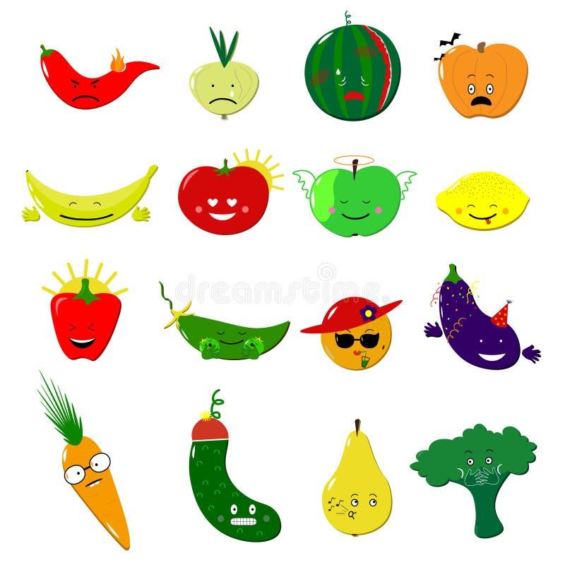 De vectorreeks van het Emoticonsvoedsel Leuke grappige stickers Van Emojivruchten en groenten vlakke beeldverhaalstijl Vector ill stock afbeeldingen