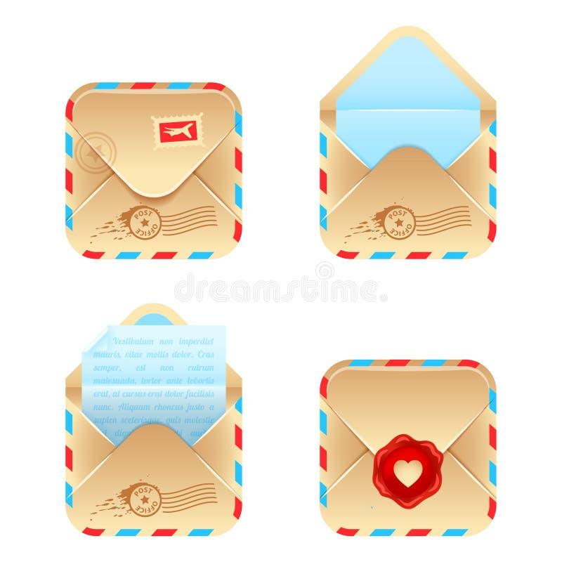 De vectorreeks van het enveloppictogram stock illustratie