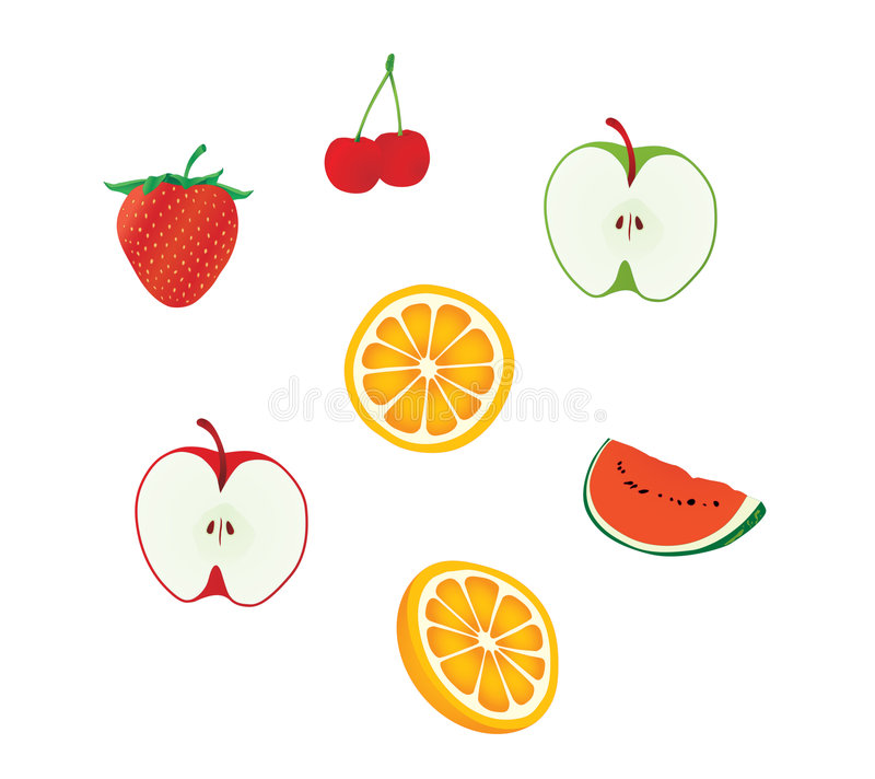 De vectorreeks van het fruit vector illustratie