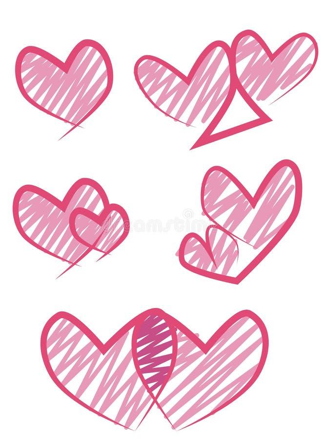 De vectorreeks van het hartontwerp vector illustratie