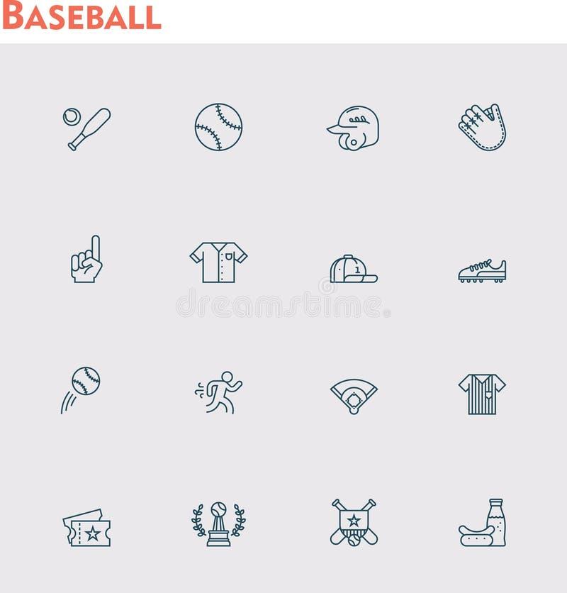 De vectorreeks van het honkbalpictogram vector illustratie