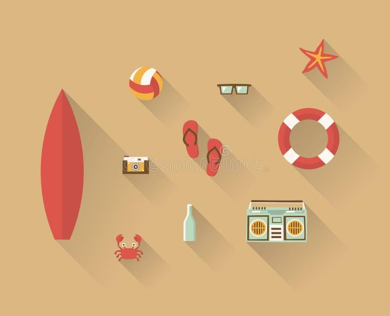 De vectorreeks van het illustratiepictogram van strand: branding, fotocamera, bal, wipschakelaars, zonnebril, zeester, reddingsbo royalty-vrije illustratie