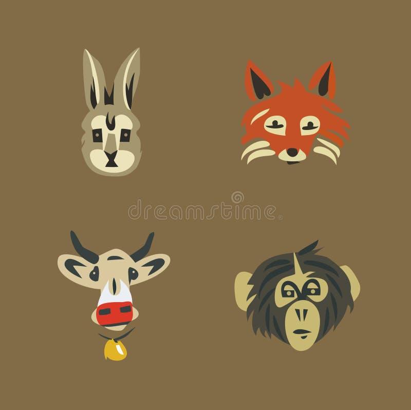 De vectorreeks van het illustratiepictogram wildernis en huisdieren: konijn, vos, koe, aap royalty-vrije illustratie
