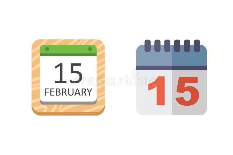 De vectorreeks van het Kalenderpictogram royalty-vrije illustratie