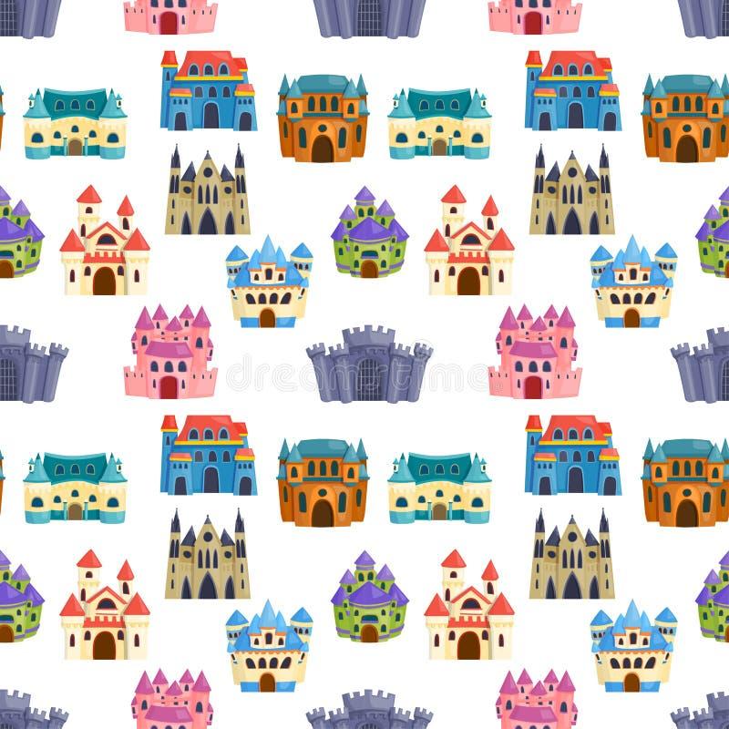 De vectorreeks van het kasteelbeeldverhaal vector illustratie