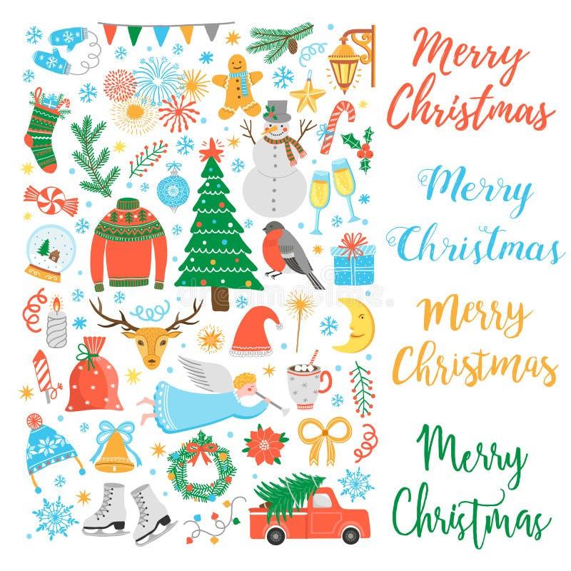 De vectorreeks van het Kerstmispictogram royalty-vrije illustratie