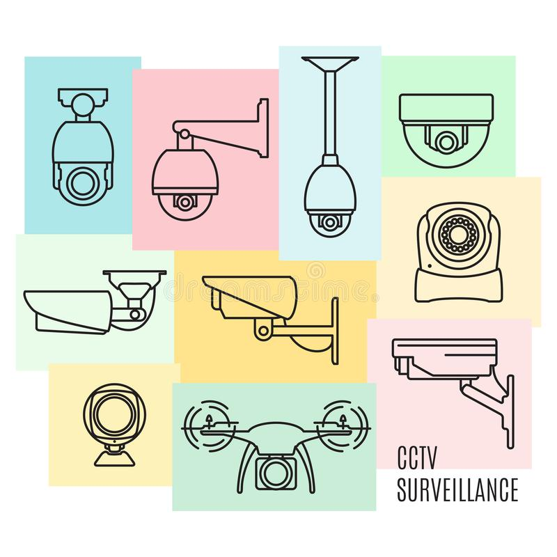 De vectorreeks van het de lijnpictogram van de veiligheidscamera, vlak ontwerp royalty-vrije illustratie