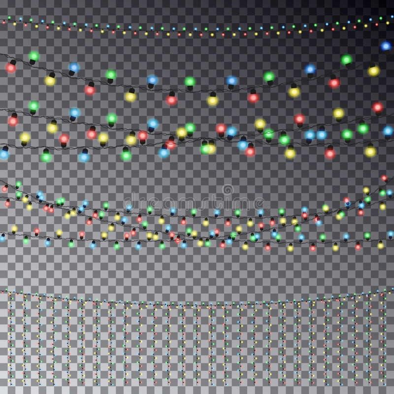 De vectorreeks van het overlappen, gloeiende transparante lichte slingers is vector illustratie