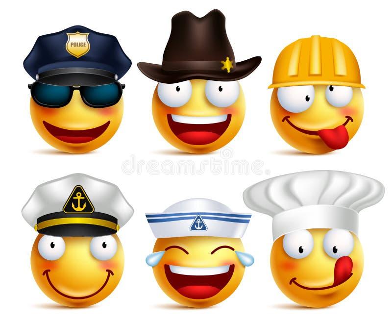 De vectorreeks van het Smileygezicht beroepen met hoeden zoals politie vector illustratie