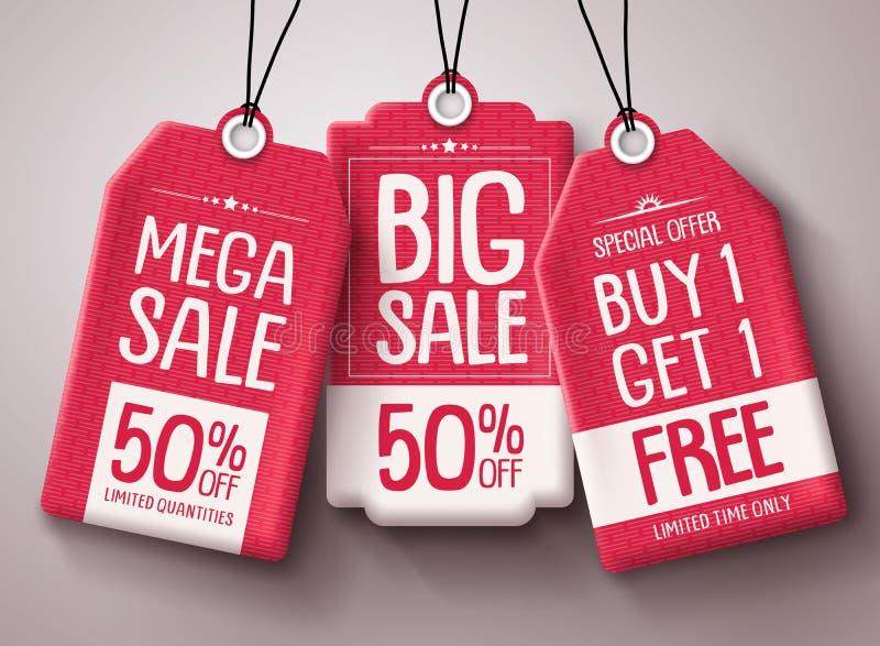 De vectorreeks van het verkoopprijskaartje Het rode document etiketteert malplaatje met grote verkoop en kortingsteksten royalty-vrije illustratie