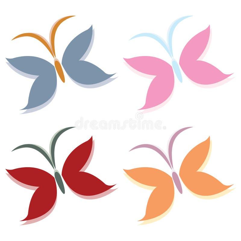 De vectorreeks van het vlinderembleem royalty-vrije illustratie