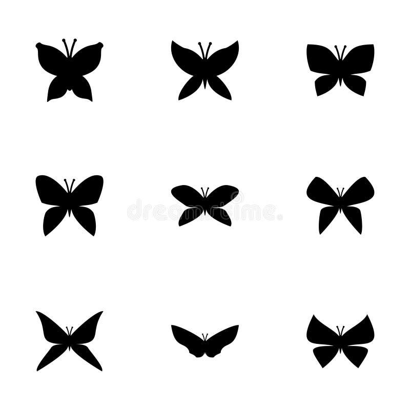 De vectorreeks van het vlinderpictogram stock illustratie