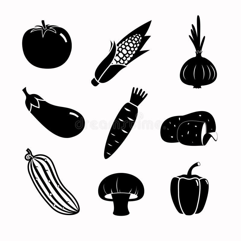 De vectorreeks van het voedsel zwarte pictogram stock illustratie