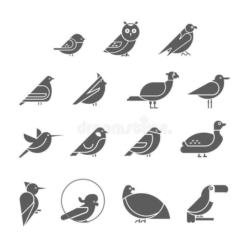 De vectorreeks van het vogelpictogram royalty-vrije illustratie