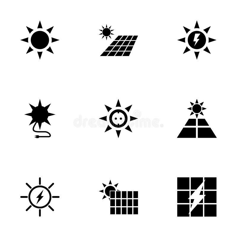 De vectorreeks van het zonne-energiepictogram royalty-vrije illustratie