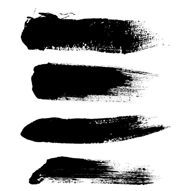 De vectorreeks van de hoogtekwaliteit hand getrokken kwaststreken, vlekken voor achtergronden vector illustratie