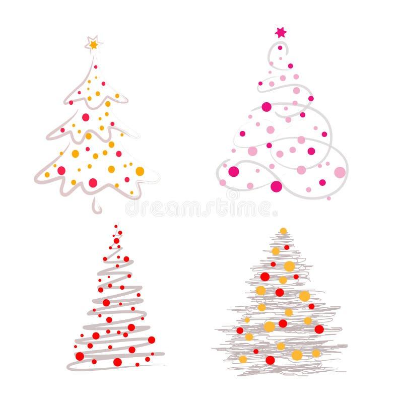 De vectorreeks van de illustratie abstracte Kerstboom royalty-vrije illustratie