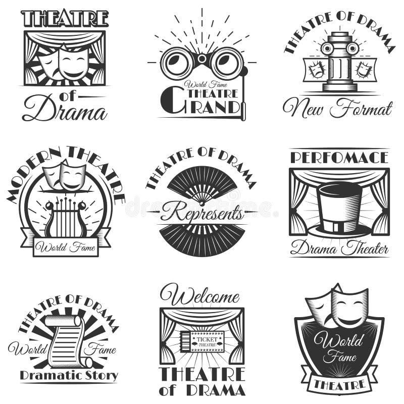 De vectorreeks van klassiek theater isoleerde etiketten, embleem en emblemen Zwart-witte theatersymbolen en ontwerpelementen stock illustratie