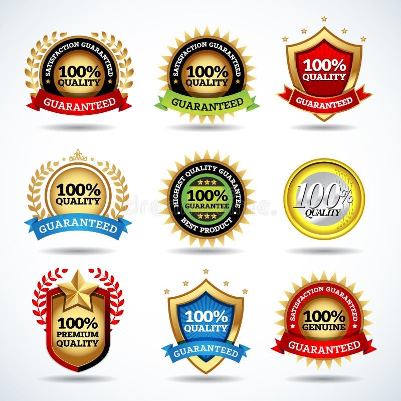 De vectorreeks van 100% kwaliteitswaarborg, tevredenheid gewaarborgde etiketten, stempelt, banners, kentekens, kammen, etiketten royalty-vrije illustratie