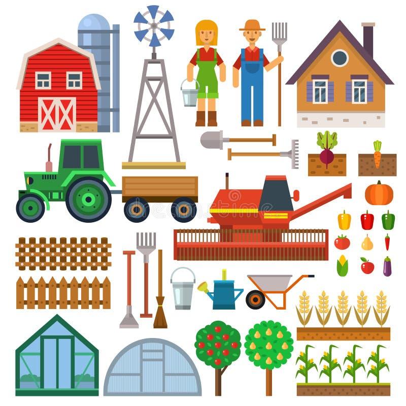 De vectorreeks van landbouwbedrijfpictogrammen royalty-vrije illustratie