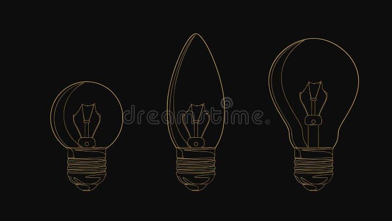 De vectorreeks van de lijn gloeiende gloeilamp Vector illustratie voor uw zoet water design vector illustratie