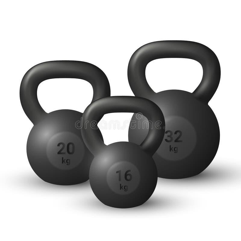 De vectorreeks van mooi realistisch zwart ijzer drie goot kettlebells op witte achtergrond stock illustratie