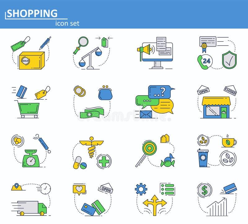 De vectorreeks van online het winkelen, de levering en Internet slaan ondersteunende dienstpictogrammen in dunne lijnstijl op Web stock illustratie