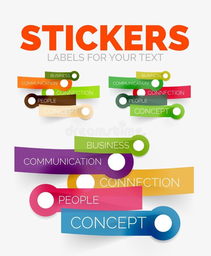 De vectorreeks van ontwerpelementen kleurendocument stickerpictogrammen royalty-vrije illustratie