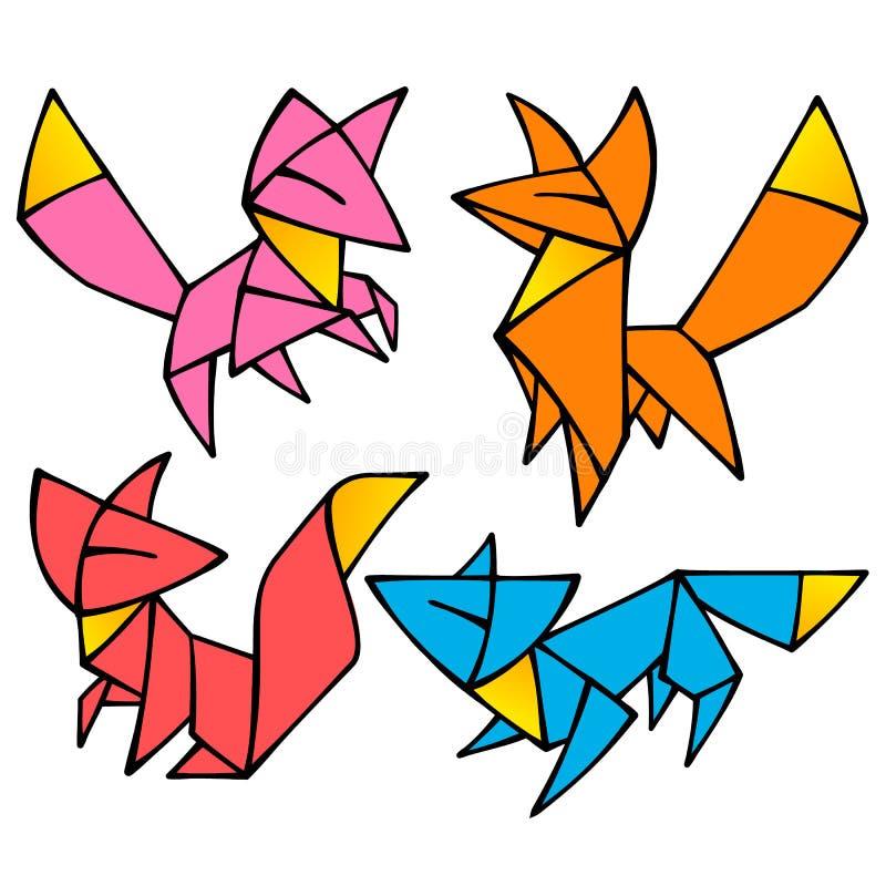 De vectorreeks van de origami leuke Vos stock illustratie