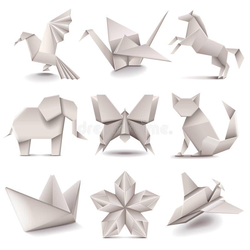 De vectorreeks van origamipictogrammen royalty-vrije illustratie