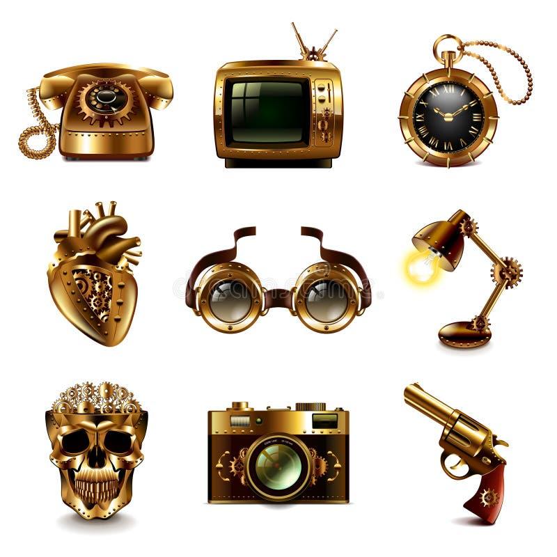 De vectorreeks van Steampunkpictogrammen royalty-vrije illustratie