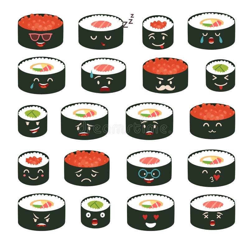 De vectorreeks van sushiemoji Emojisushi met gezichtenpictogrammen De sushi rollen grappige stickers vector illustratie