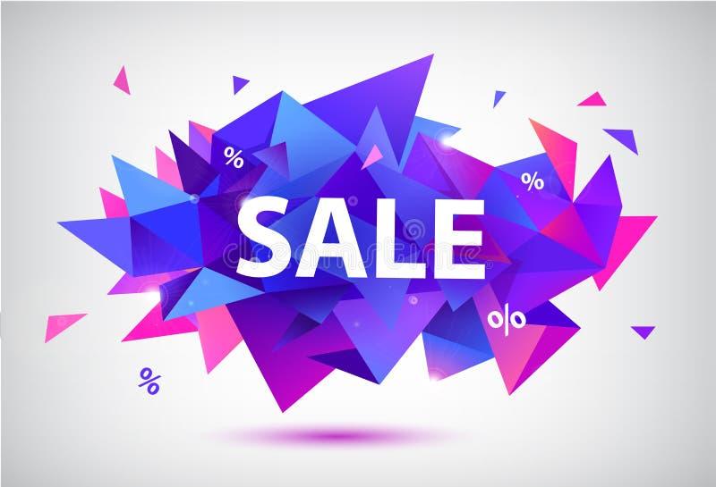 De vectorreeks van verkoop facetteerde geometrische banners, affiches, kaarten 3d abstracte kortingsvormen royalty-vrije illustratie
