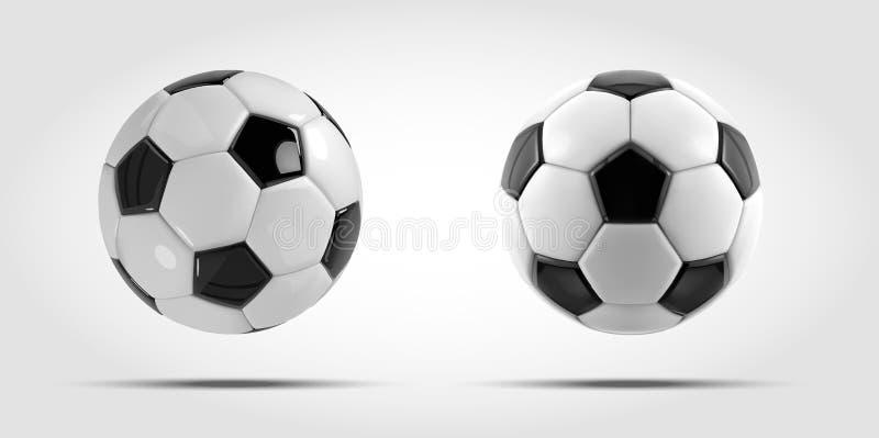 De vectorreeks van de voetbalbal Twee Realistische voetbalballen of voetbalballen op witte achtergrond royalty-vrije illustratie
