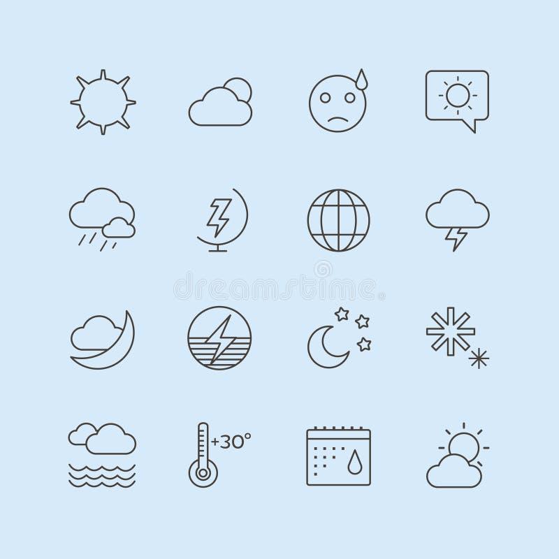 De vectorreeks van weerpictogrammen Maan, Hemel of Wind en vector illustratie