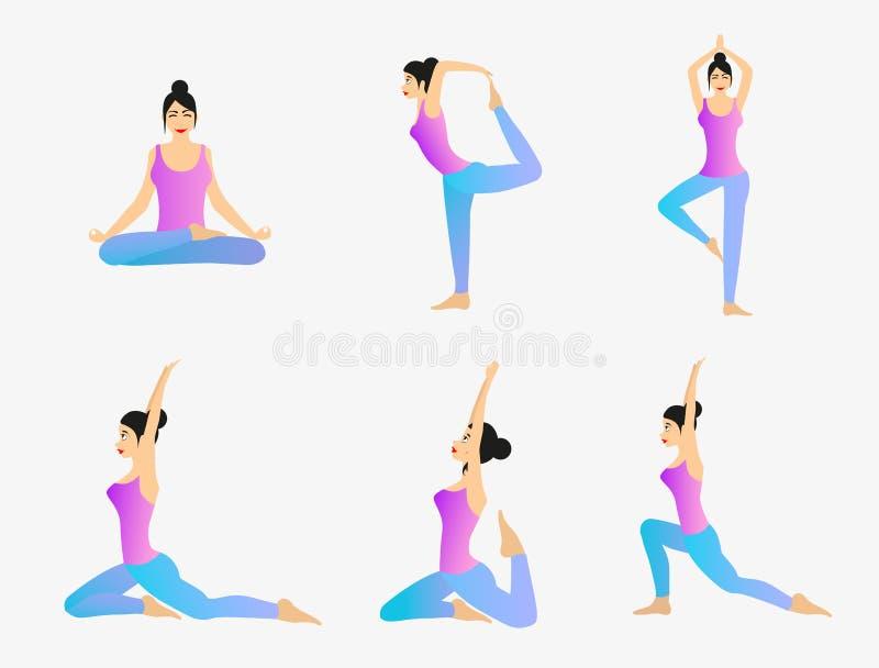 De Vectorreeks van de yogaoefening vector illustratie